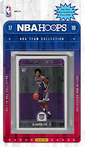 fan products of Sacramento Kings 2017 2018 Hoops Basketball Factory Sealed 12 Card NBA Licensed Team Set with DeAaron Fox and Frank Mason Rookie Cards Plus