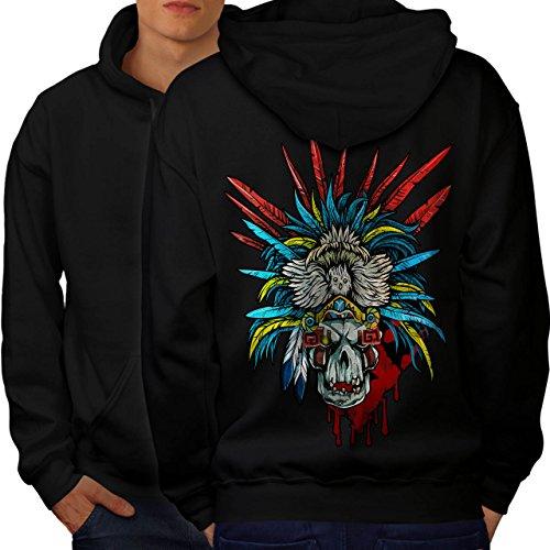 [Skull Indian Warrior Costume Men M Hoodie Back | Wellcoda] (Mayan Warrior Costumes)