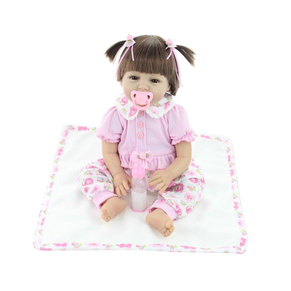 Decdeal 55cm Reborn Baby Puppe Mädchen mit Stoff Körper Nette Zöpfe NPK