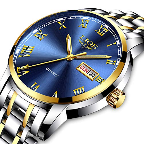 LIGE Watches Mens Waterproof Stainless Steel Gold Blue Mens Watches Business Dress with Date Analog Quartz Wristwatch ()