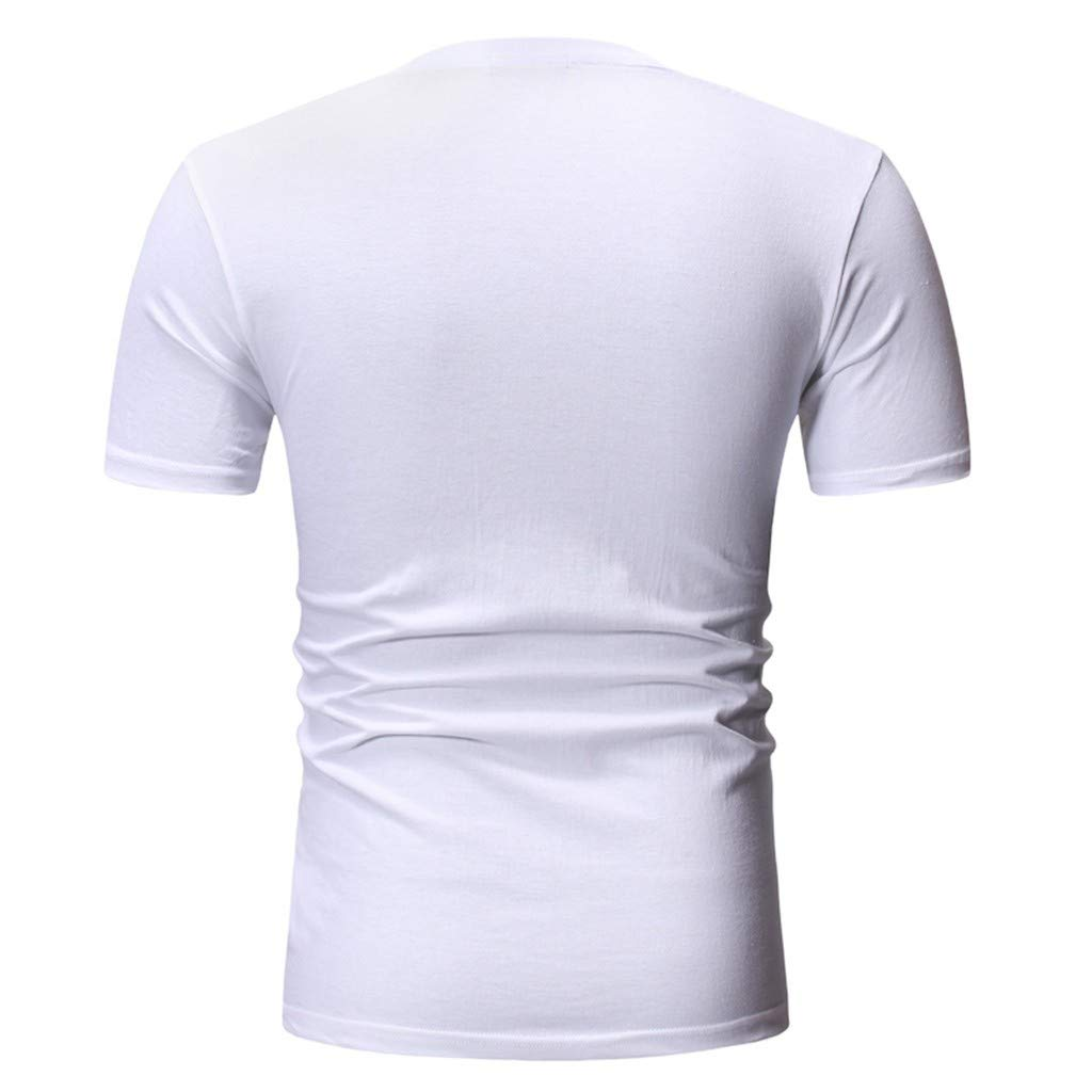 Fashion Summer Mens Round Neck Personalit Print Short Sleeve Leisure Top Blouse