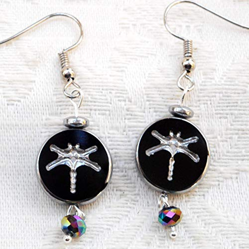 Dragonfly Hematite Earrings - Dainty Reversible Black and Silver Tone Dragonfly Glass Bead Earrings, Insect Jewelry Gift for Her