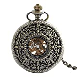 Zxcvlina Classic Smooth Unisex Retro Pocket Watch Exquisite Carved Mechanical Pocket Watch Bronze with Chain Suitable for Gift Giving