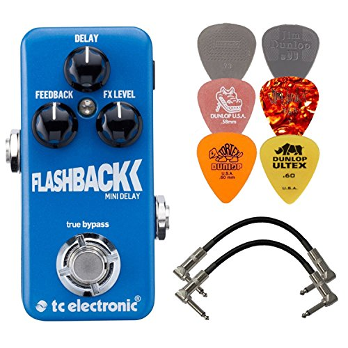 TC Electronic Flashback Mini Delay Effects Pedal BUNDLE w/ 2 Patch Cables and 6 Assorted Dunlop Picks by TC