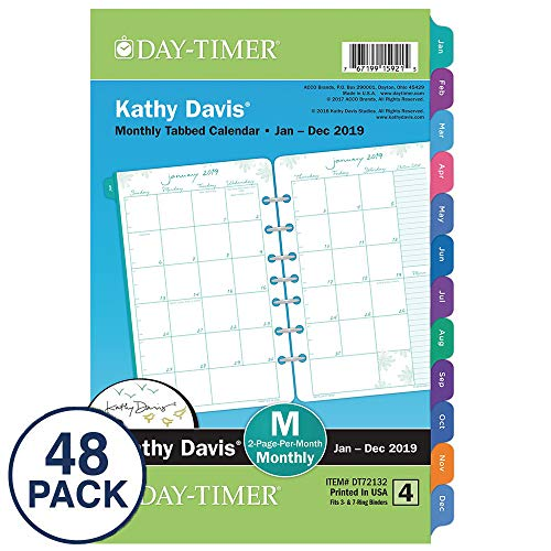 Kathy Davis for Day-Timer 2019 Monthly Planner Refills, 5-1/2