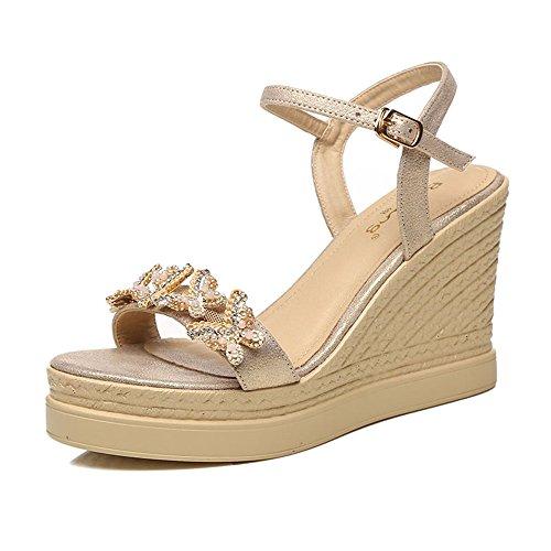 Sandals Amazing Female Summer Shoes Wedges Waterproof Platform Open Toe Rhinestone Shoes (Color : Gold, Size : EU36/UK3.5/CN35) Gold