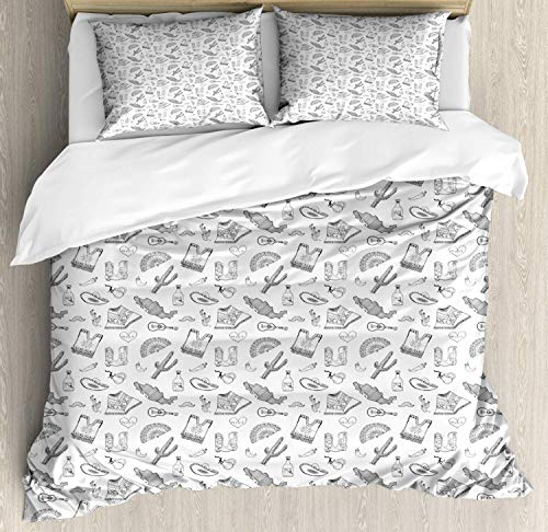 Mexico Duvet Cover Set Twin Size, Monochrome Outline Sketch Folkloric Items Hat Cactus Map Poncho Tequila, Decorative 3 Piece Bedding Set with 2 Pillow Shams, Charcoal Grey and White