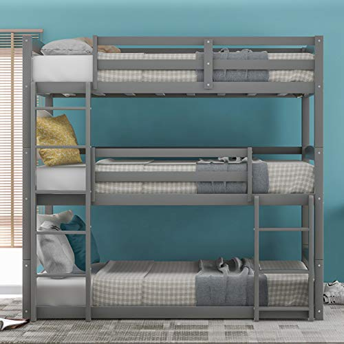 Kids Triple Floor Bunk Beds, 3 Bunk Beds Twin Over Twin Over Twin Size in Classic Grey