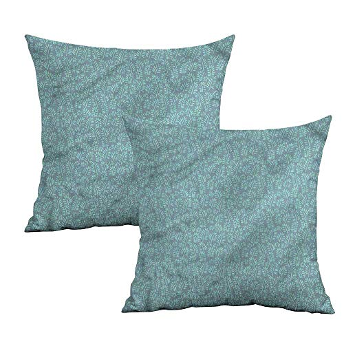 Khaki home Leaves Square Pillowcase Protector Leafy Stems Pastel Colored Square Kids Pillowcase Cushion Cases Pillowcases for Sofa Bedroom Car W 24