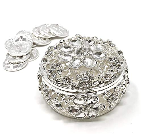 CB Accessories Wedding Unity Coins - Arras de Boda - Round Shaped Flower Box with Decorative Rhinestone Crystals 16 (Silver)