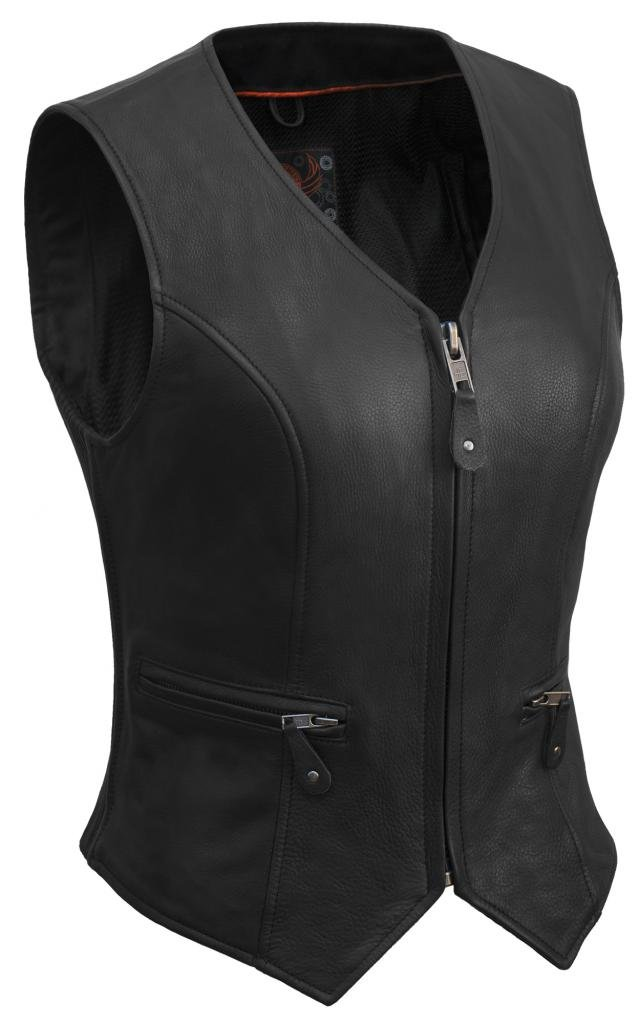 True Element Womens Short Fitted Motorcycle Leather Vest With Side Stretch Panel (Black, Size L)