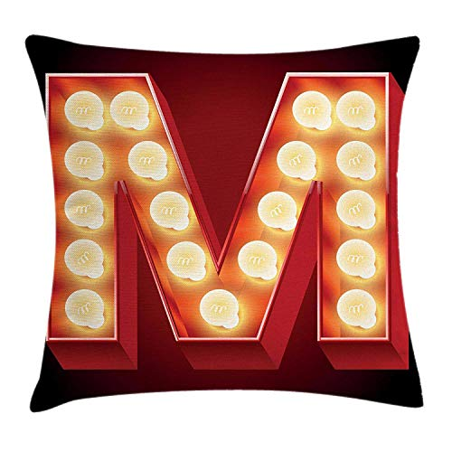 Black Collection Seating Theater (Ustcyla Letter M Throw Pillow Cushion Cover, Vintage Alphabet Collection of Old Movie Theaters Casinos Retro Type, Decorative Square Accent Pillow Case, 18 X 18 Inches, Vermilion Yellow Black)