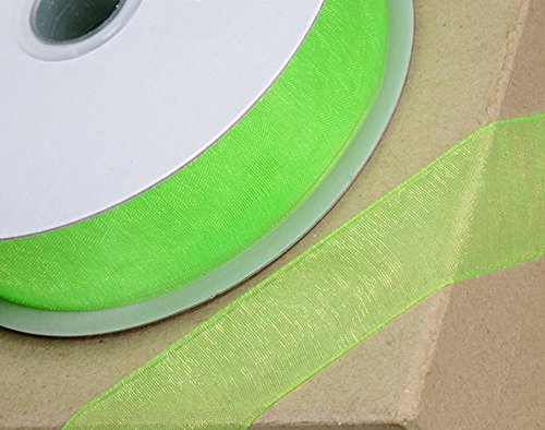 10mm Apple Green Woven Edge Organza Ribbon for Crafts - 25m (Mm Woven Edge 10)