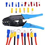 Glarks Professional Insulated Ratcheting Wire Terminal Connectors Crimper Tool for 20-18AWG / 16-14AWG / 12-10AWG