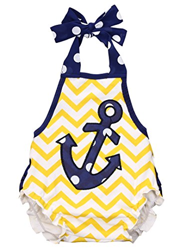 UPC 603330778788, Newborn Infant Baby Anchor Print Bodysuit Romper Jumpsuit Outfit Sunsuit Clothes (0-6months, Yellow)
