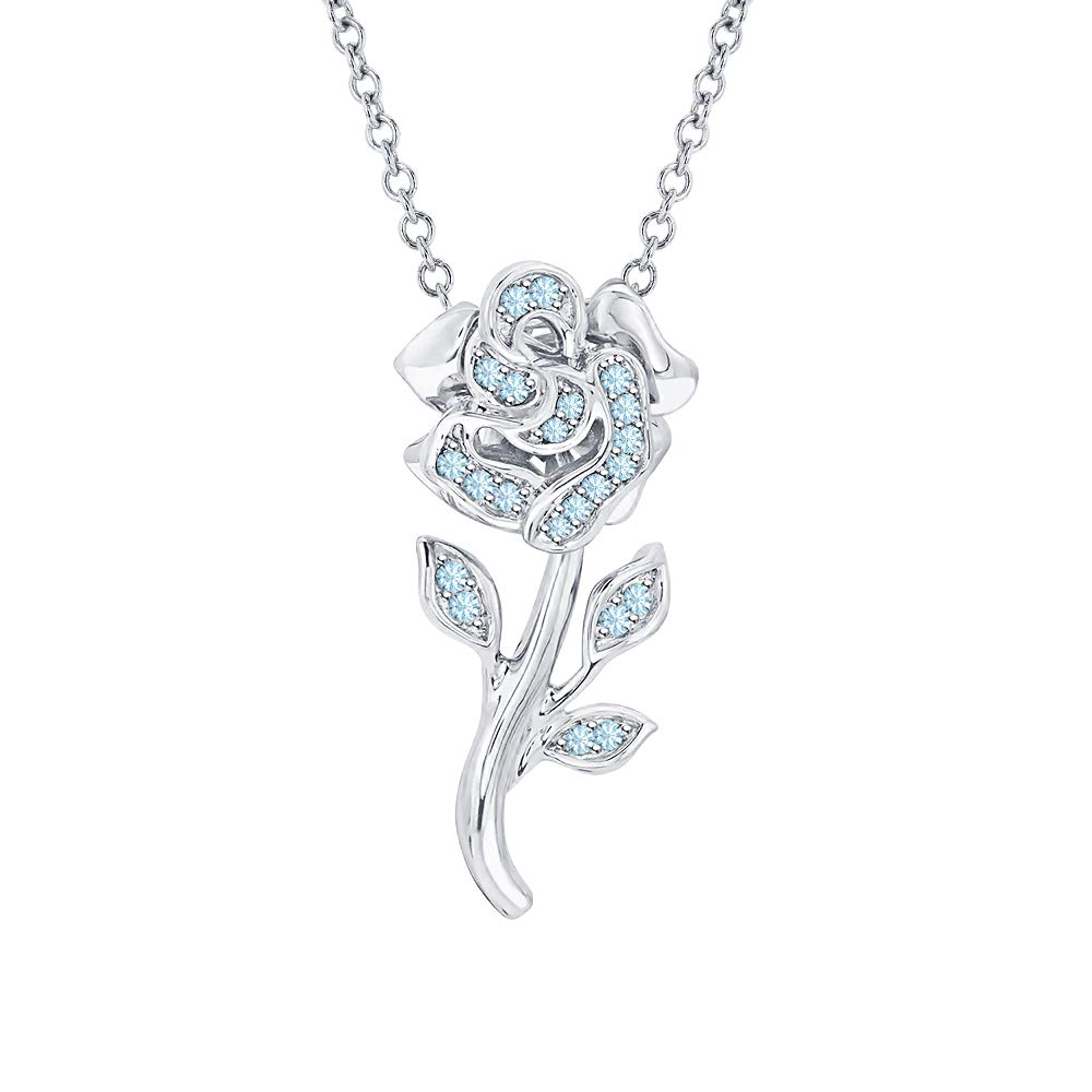 RUDRAFASHION Beautiful Rose Flower Gemstone Pendant Necklace 14K White Gold Over 925 Sterling Silver for Girls