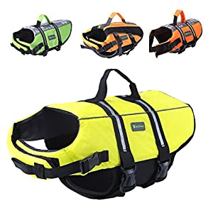 Wellver Dog Life Jacket Pet Life Preserver Saving Vest with Reflective Strips,Yellow Click on image for further info.