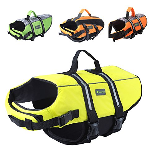 Wellver Dog Life Jacket Pet Life Preserver Saving Vest with Reflective Strips,Yellow from Wellver