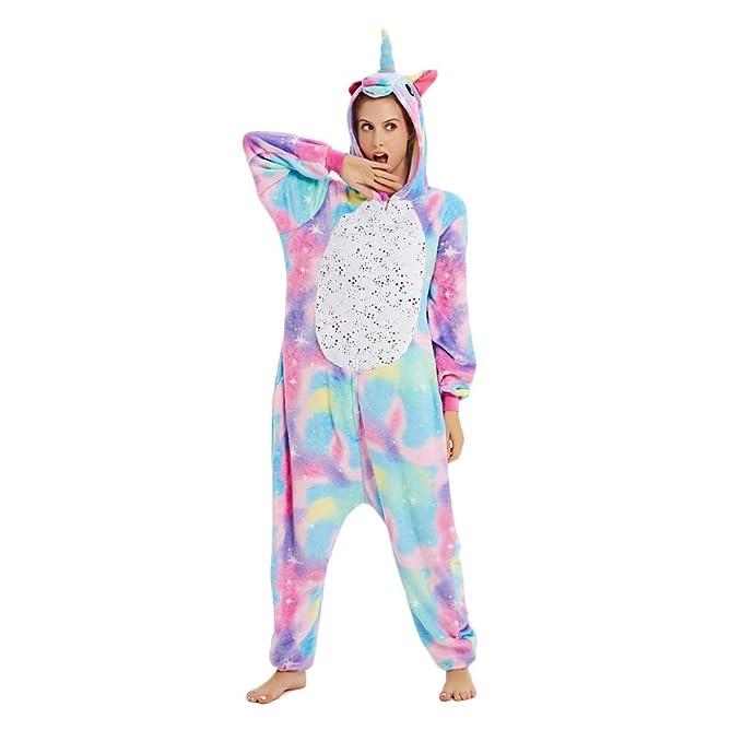 Mystery&Melody Disfraz de Unicornio Adulto arcoíris para Mujer Chicas Pijama de Navidad Animal Navidad