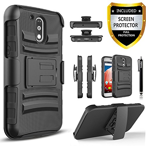 Moto G4 / Moto G4 Plus Case, (Not Fit Moto G4 Play) Dual Layers [Combo Holster] And Built-In Kickstand Bundled with [Premium HD Screen Protector] Hybird Shockproof And Circlemalls Stylus Pen [Black]