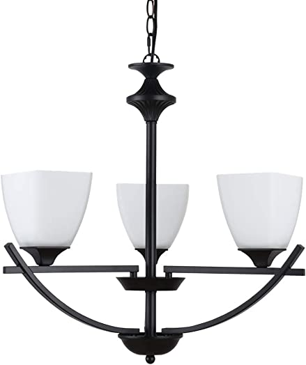 Alice House 22 Transitional Style Chandelier, Black Finish,White Glass, 3 Light, Hanging Pendant Lighting Fixture for Dining Rooms, Entryway, Foyer AL12077-H3