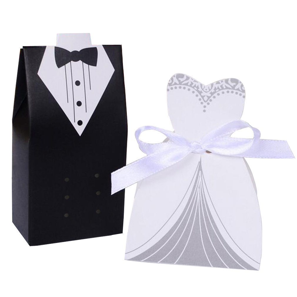 Wedding Favors Wedding Party Favor Boxes Creative Tuxedo Dress Groom Bridal Candy Gift Box with Ribbon 100pcs for Gift Wedding Party Birthday Bridal Shower Decoration