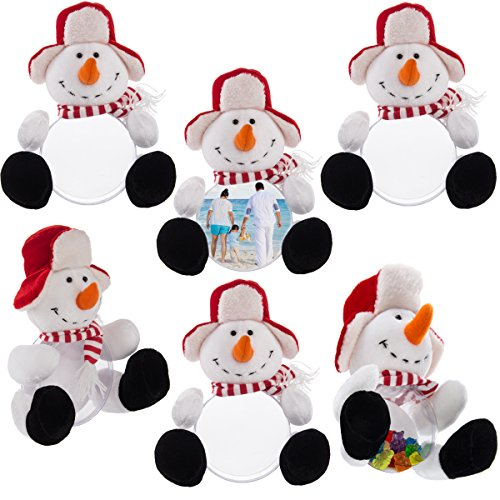 (DG Home Goods 6 Snowman Plush Picture Frame Christmas Trinket Gift Box Set Party Favor)