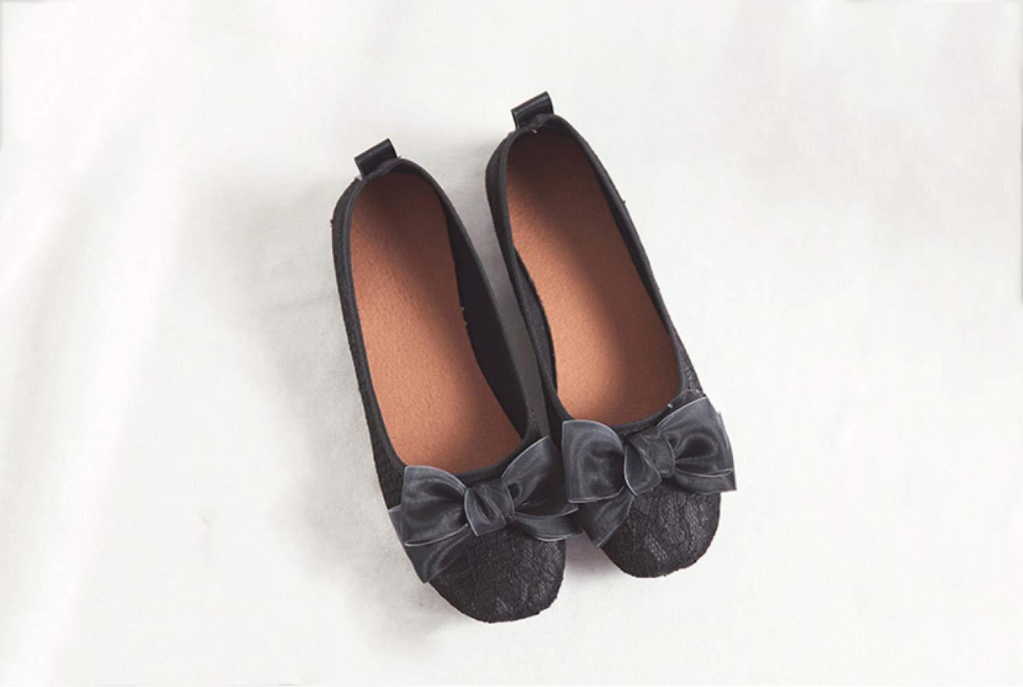 WFL Scarpe estive scarpe da ginnastica in maglia traspirante in pizzo con fiocco aperto,Nero,35  Nero