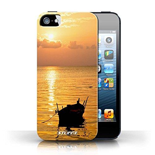 Etui pour Apple iPhone 5/5S / Bateau de pêche conception / Collection de Coucher du Soleil
