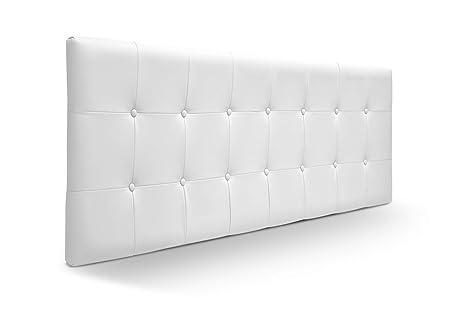 SUENOSZZZ - Cabecero Munich, Estructura de Madera de Pino, tapizado con capitoné Acolchado en Polipiel Color Blanco. Cabeceros Madera para Dormitorio ...
