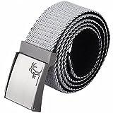 moonsix Canvas Web Belts for Men,Solid Color Military Style 1.5'' Wide Flip-Top Belt,Grey