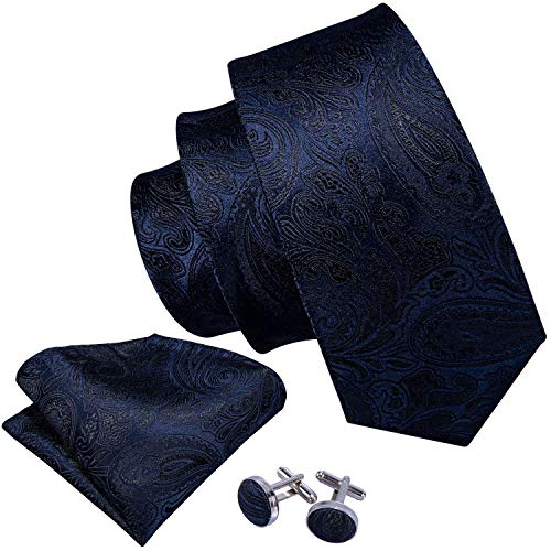 Barry.Wang Formal Men Ties Silk Paisley Handkerchief Cufflink Dark Blue