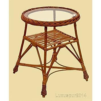 Table de jardin ronde Lero en boite osier brun avec plateau en verre ...