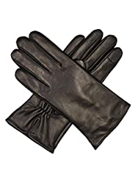 Harssidanzar Womens Luxury Italian Nappa Leather Gloves Vintage Finished Cashmere Lined Touchscreen, Black, L