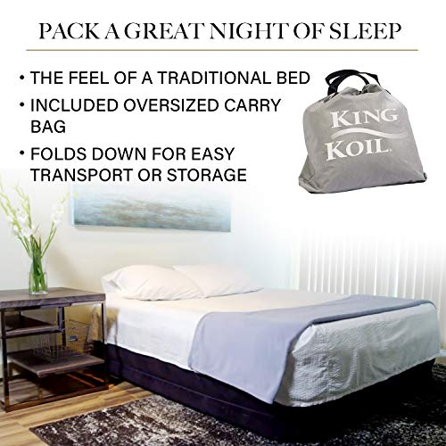 King Koil California King Luxury Raised Air Mattress with Built-in 120V AC High Capacity Internal Pump Comfort Quilt Top California King Airbed for Home Camping Travel 1-Year Manufacturer Guarantee
