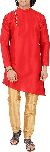 Maharaja Mens Raw Silk Ethnic Indian Festive Diwali Special Kurta Pyjama Set