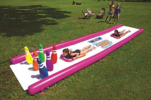 WOW World of Watersports 19-2010 Strike Zone, Giant Backyard Waterslide, High Side Walls, Built in Sprinkler, 25 Feet x 6 Feet, Includes 6 Bowling Pins and 2 Inflatable Sleds ()