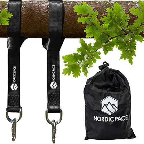 Nordic Pace Waterproof  Tree Swing & Hammock Hanging Kit Straps with 2 Extra Strong 5 ft Straps, 2 Heavy Duty Snap Carabiners,  Fast & Easy Swing Hanger Installation (Swing Outside Hanger)
