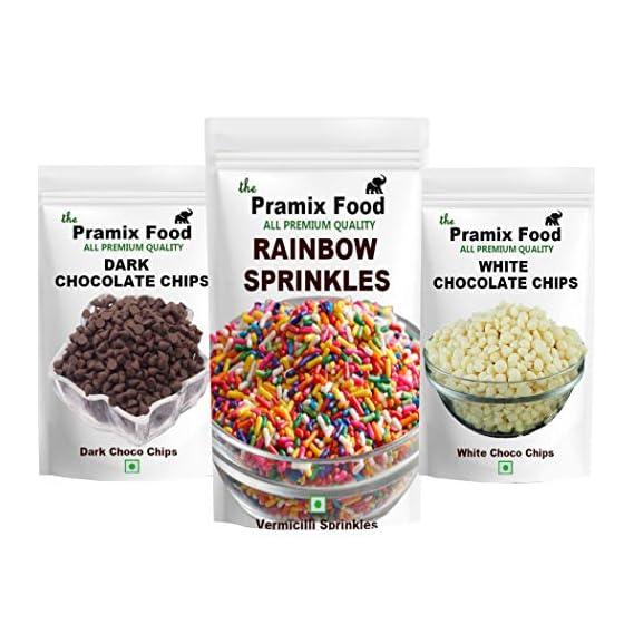 Pramix Combo of Rainbow Sprinkles, Dark & Milk Choco Chips (Chocolate Truffle) ( Each Packet Weight 100 gm) 300 gm)