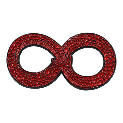 Hat Jewelry Pins Red (Real Sic Ouroboros Enamel Pin - Black Metal Snake Pin - Halloween/Occult/Witch/Alchemy/Tarot Lapel Pin for Jackets, Backpacks, Bags, Hats & Tops (Red))