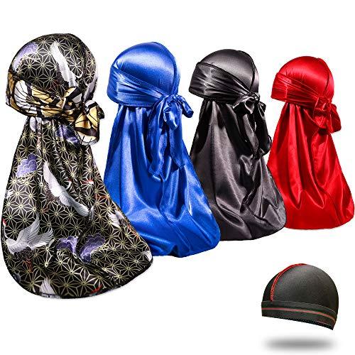 4PCS Silky Durags for Men 360 Waves, Designer Do Rag, Award 1 Wave Cap (Crane Blue Black Red)