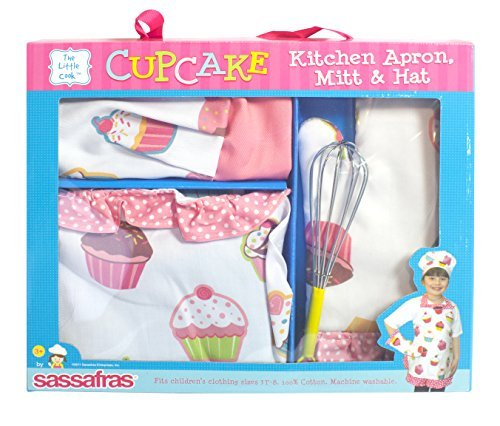 Sassafras ''The Little Cook'' Ruffled Cupcake Apron Set with BONUS Whisk - Our Children's Apron Set Includes an Apron, Kids Oven Mitt, Adjustable Child's Chef's Hat and Bonus Whisk