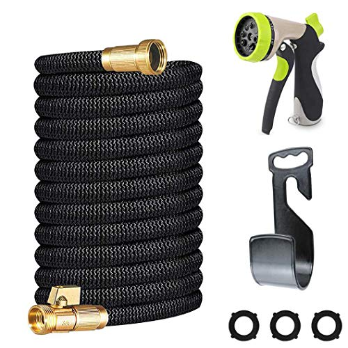 Miracle Garden Hose 150ft – Expandable Garden Hose Double Latex Core, 3/4 Solid Brass Fittings, Extra Strength Fabric – Flexible Water Hose Metal 8 Function Nozzle
