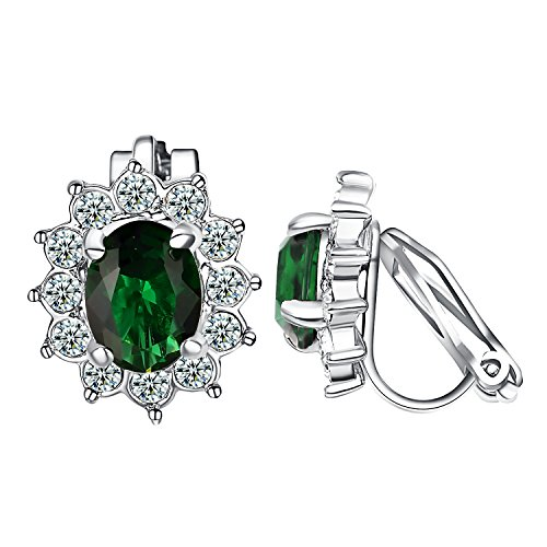 Yoursfs Clip Earrings For Women Flower Shape Fashion Crystal Non Pierced Earrings (Green Clip ()