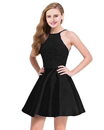 Lily Wedding Juniors Halter Lace Appliques Prom Dresses Short Sleeveless Satin Homecoming Party Dress Black Size