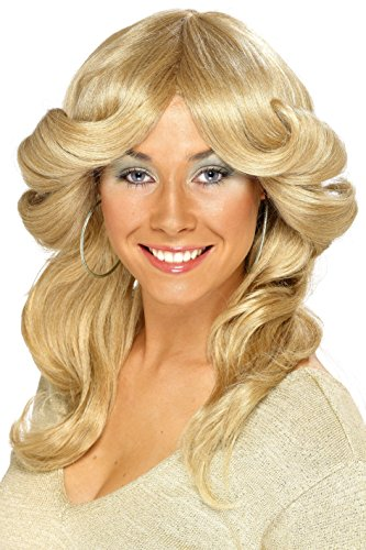 Smiffy's Women's Long Wavy and Layered Blonde 70's Flick Wig, One Size, 5020570422519 (Costume 70's Wig)