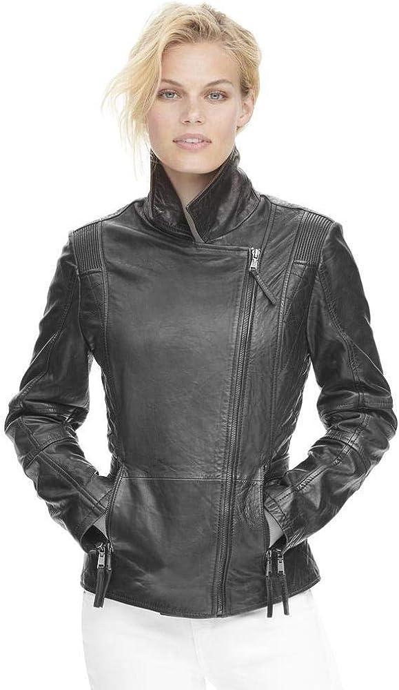 Leather Hubb Black Women Leather Jacket Moto Motorcycle Biker Jacket for Womens