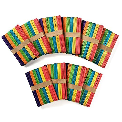 500 Pack Jumbo 6 Wooden Popsicle Sticks - Bright Assorted Colored - Large Craft Sticks