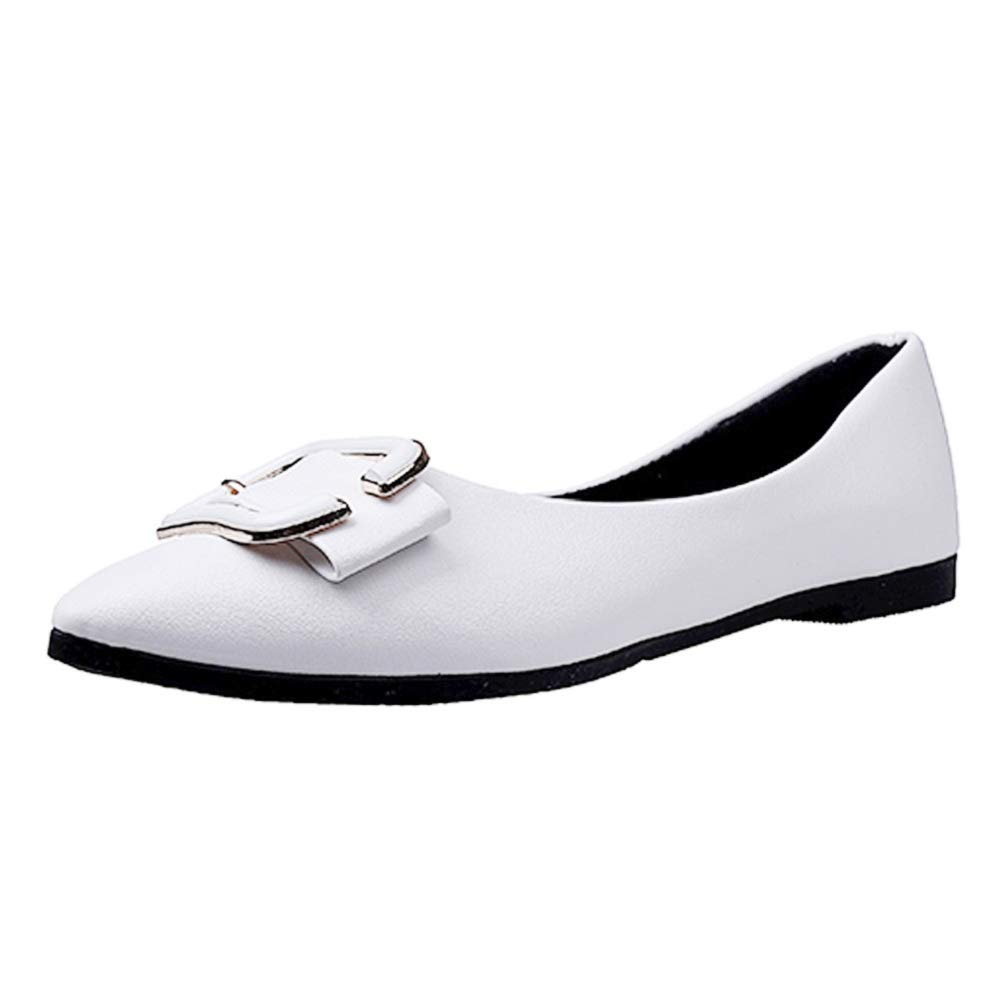 Womens Pointed Toe Ballet Flats Ballerina Comfortable Walking Shoes by Lowprofile White