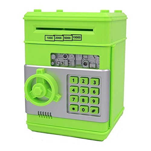 Stylebeauty Electronic Password Piggy BankCash Coin Can Money Locker Auto Insert Bills Safe Box Password ATM Bank Saver Birthday Gifts for Kids ( GREEN )